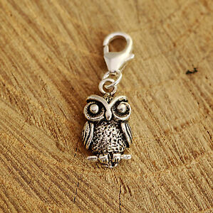 925 Sterling Silver Antiqued Owl Bracelet Charm Clip On Handcrafted w Gift Box