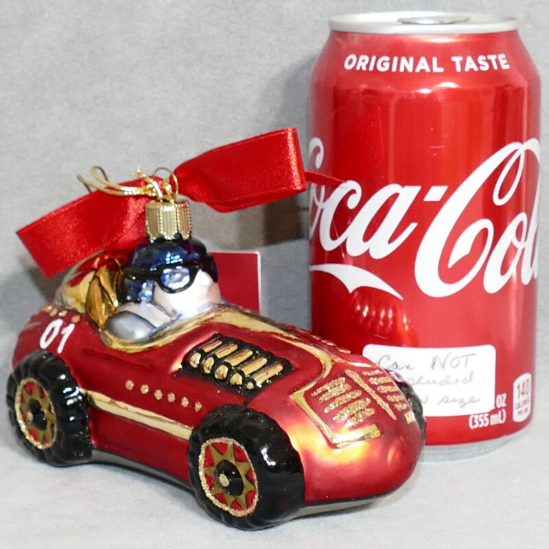 LENOX Christmas Ornament Glass POLAND ANTIQUE TOYS YULETIDE TREASURES RACE CAR