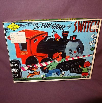 The Fun Game of Switch Train Engine Tee Pee Toys Vintage No. 3272 U.S.A. Board