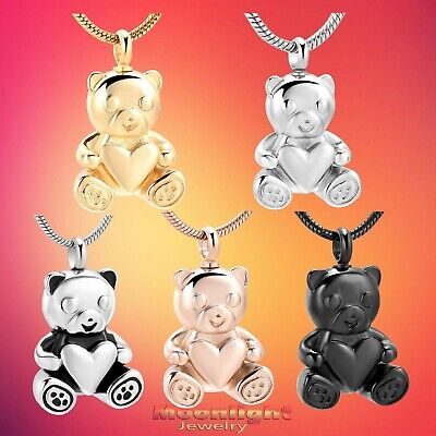 New Teddy Bear Heart Urn Cremation Keepsake Ashes Memorial Necklace