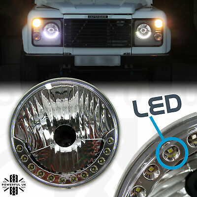 """NEW 7"""" Round LED DRL style Head lights Land Rover Defender 90 100 110 headlamps"""