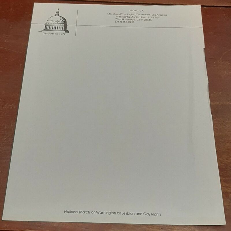Rare March on Washington For Lesbian and Gay Rights letterhead flyer 10/14/79