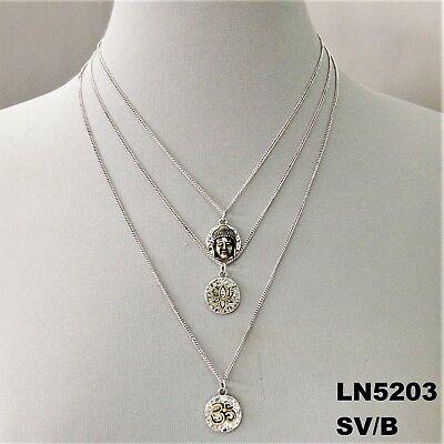 Lotus Flower Buddha (Silver Triple Layered Buddha Lotus Flower Charm Necklace   )