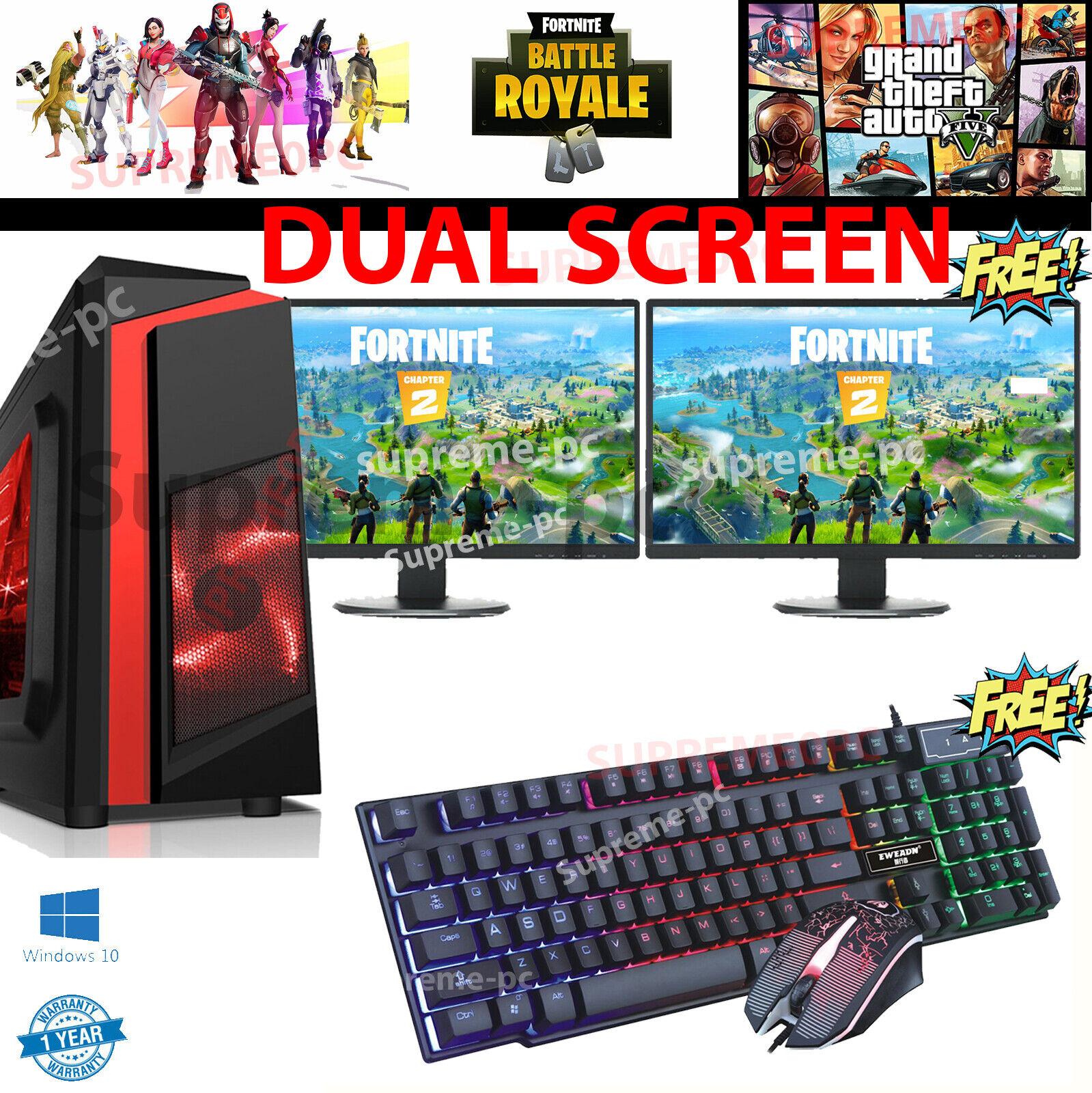Computer Games - Fast Gaming PC Computer DUAL SCREEN intel Core i5 16GB 1TB Windows 10 2GB GT710