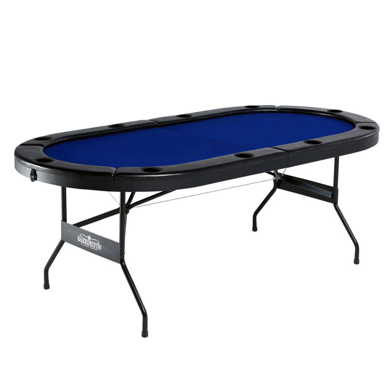 Barrington Texas Holdem Poker Table for 10 Players w/ Padded Rails & Cup Holders