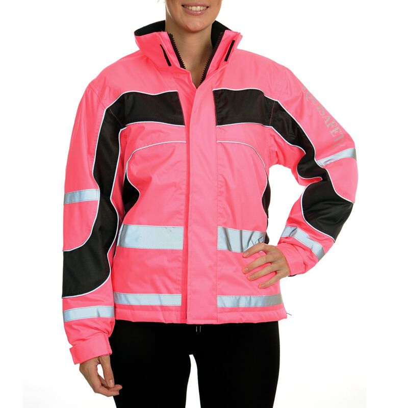 Equisafety Lightweight Waterproof Safety Wear Reflective Jacket - Pink All Sizes