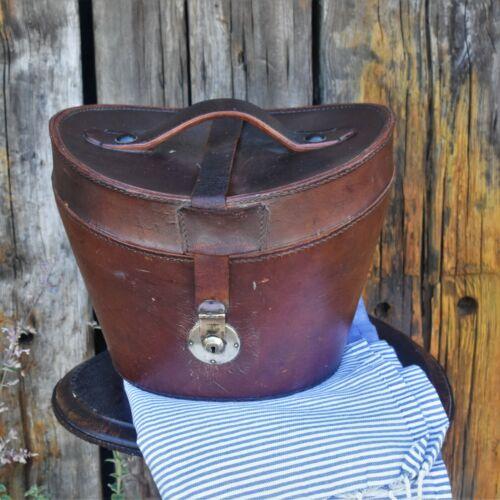 Antique Victorian Dark Brown Leather Top Hat Box Travel Bucket Case Brass Lock