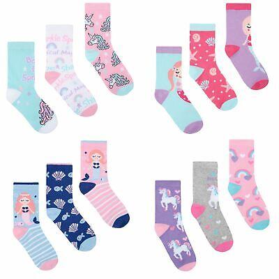 Pack Of 6 Girls Design Socks, Kids Cotton Unicorn Mermaid Pug Socks