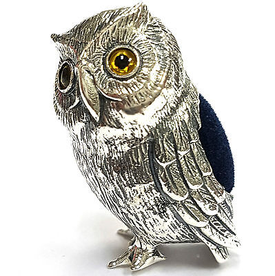 VICTORIAN STYLE LARGE OWL PIN CUSHION NEEDLE HOLDER 925 SOLID SILVER HALLMARKED