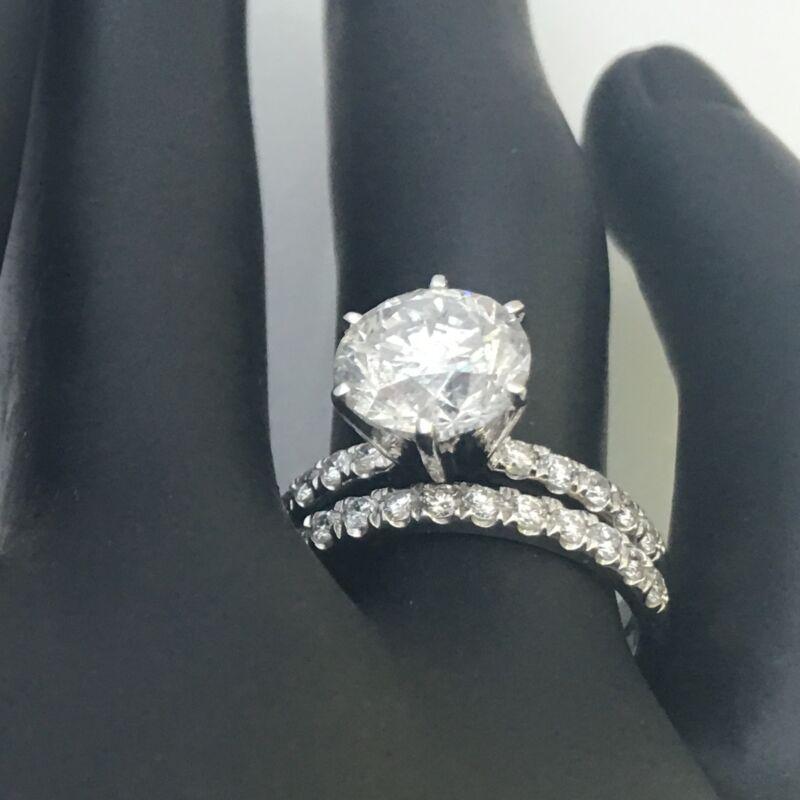 Si1 Appraised 3 Ct Diamond Ring Band Set 18 Karat White Gold Size 4.5 6 7.5 9