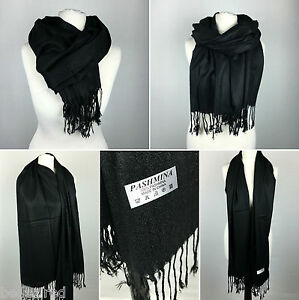 BLACK Pashmina Scarf | Ladies Large Shawl 100% Wool Plain Tassels | UK NEXT DAY