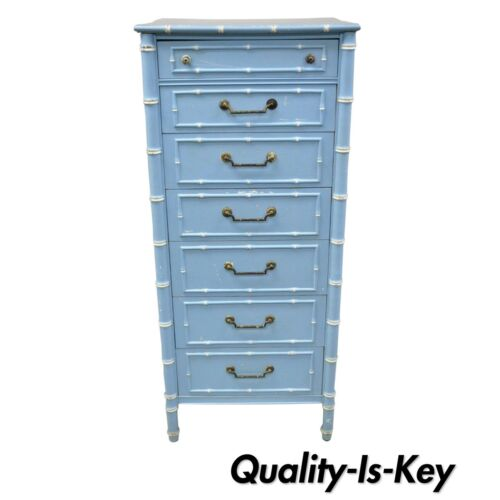 Vtg Thomasville Allegro Faux Bamboo 7 Drawer Blue Painted Tall Lingerie Chest