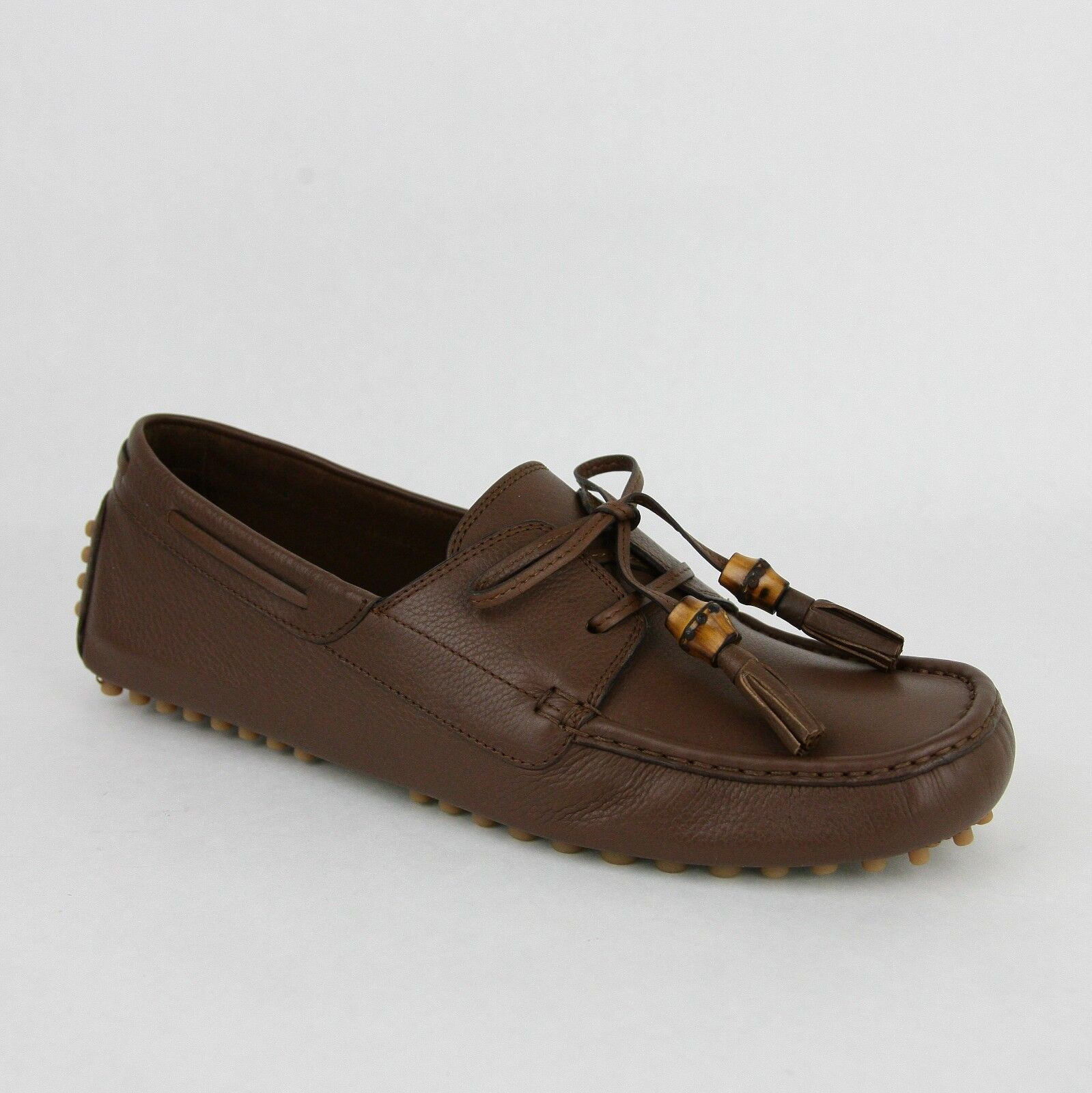 New Gucci Men's Brown Leather Bamboo Tassel Loafer Driver 367923 2138