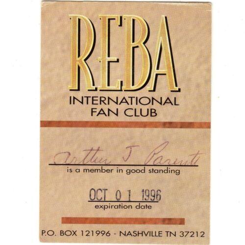 REBA McENTIRE Intl Fan Club Card NASHVILLE 10/1/95 Rare no Concert Ticket Stub