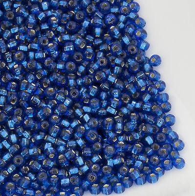 Vintage Czech Seed Beads Round 11/0 Silver Lined Dark Blue 17g 10644039 Dark Blue Czech Seed