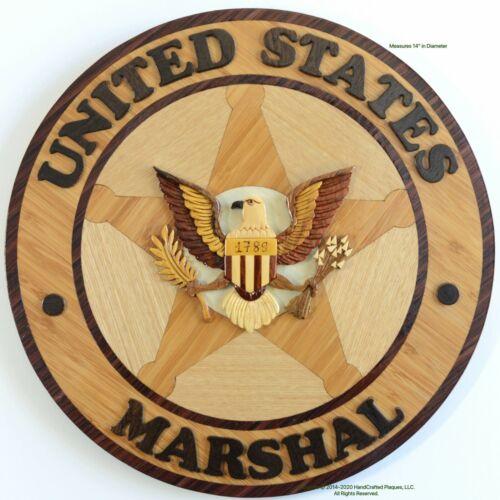 U.S. MARSHAL EMBLEM - MARSHALS SERVICE PLAQUE -  Handcrafted Wood Art Plaque