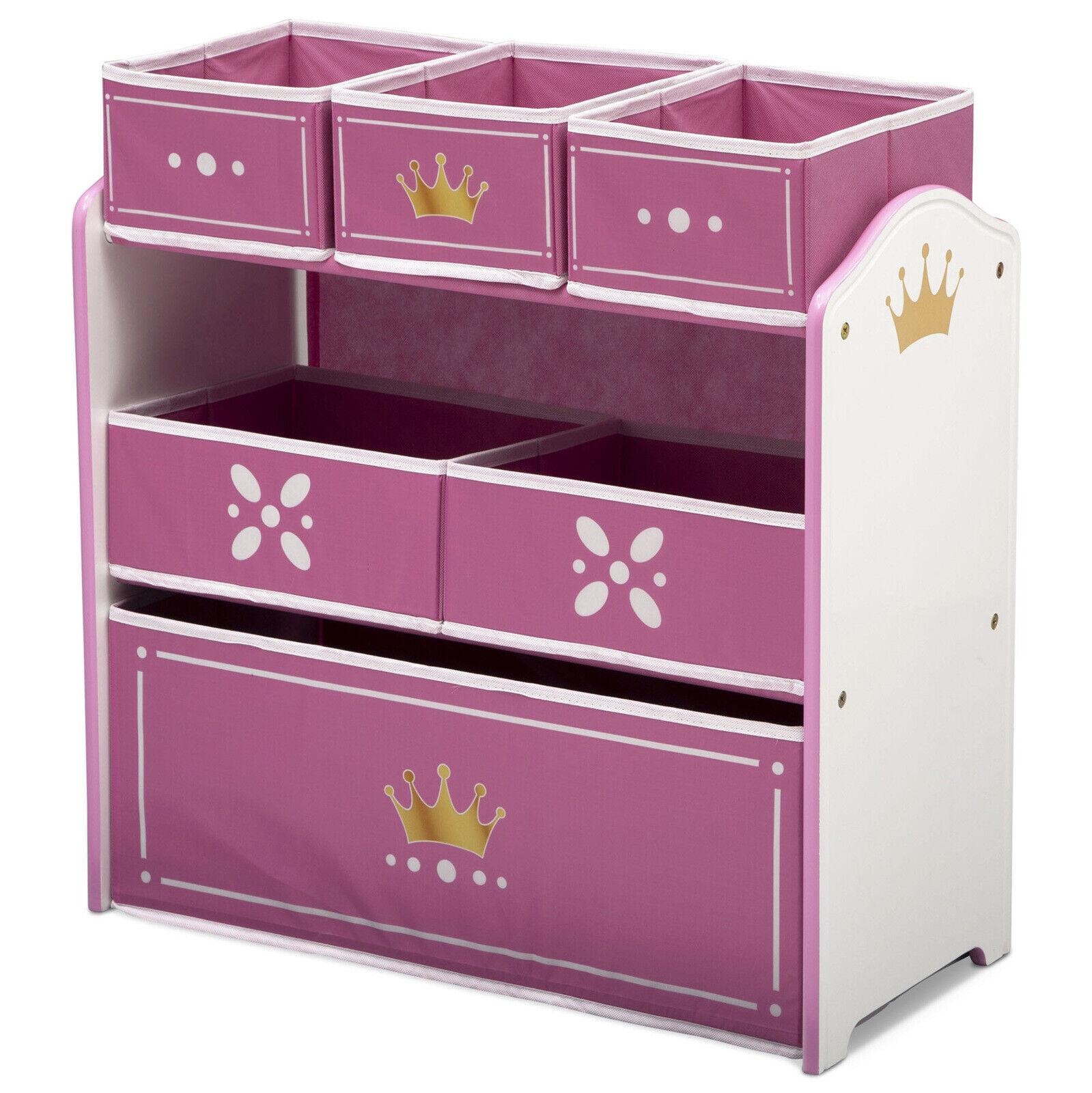 Multi-Bin Toy Storage Organizer Princess Crown Kids Girl Toy