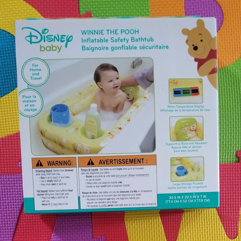 Disney Winnie the Pooh Inflatable Safety Bathtub Baby Toddler Portable Pool