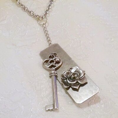 Silver Tone Door Lock and Key Pendant Statement - Lock And Key Costume