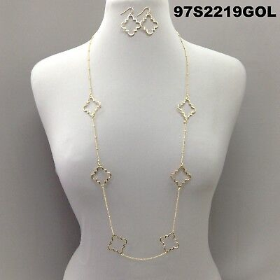 Elegant Style Cut Out Clover Charms Gold Finish Long Necklace Set & Earrings