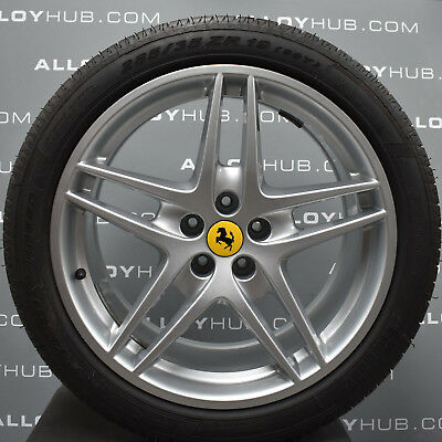 "Used, GENUINE FERRARI F430 5 TWIN SPOKE SILVER 19"" INCH ALLOY WHEELS+TYRES X4 BBS 360 for sale  Leek"