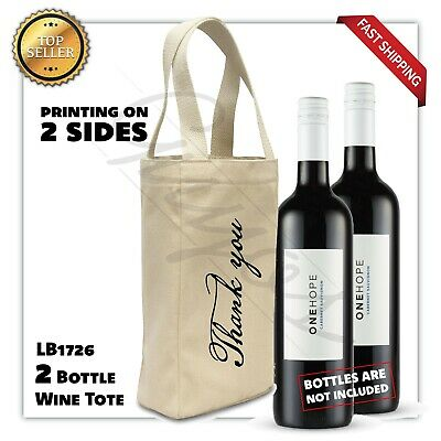 Canvas Wine Wrapping Favor Party Bag Wine Bottle Bags Thank you - Wine Bottle Gift Bags