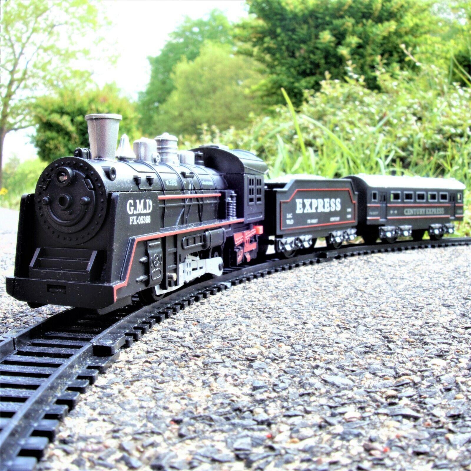 Spielzeug Modell Eisenbahn elektro Zug Set Lokomotive Schienen Gleis Ring 68 cm.
