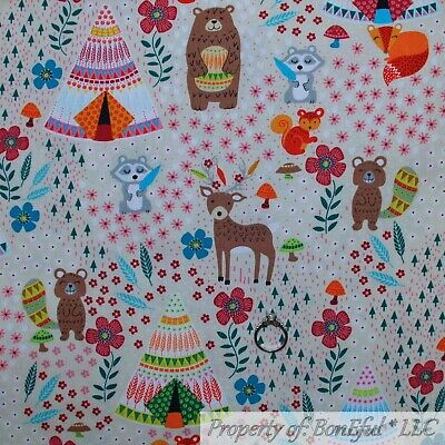 BonEful Fabric FQ Cotton Quilt Tan Brown Woodland Tent Animal Camp Bear Flower S - Flower Bed Tent