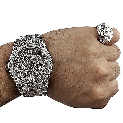 Mens Big Nugget Watch & REAL 925 Silver Ring Bling Hip Hop Rapper Set SZ 7-13 ()