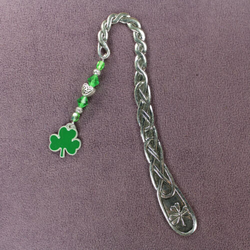 SHAMROCK BOOKMARK 3-Leaf Clover Triquetra Lucky Charm Irish Green Celtic Knots