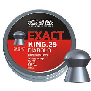 JSB Exact King .25 6.35mm Pellets Diabolo Airgun Air Rfile Domed 25 Pellets 350