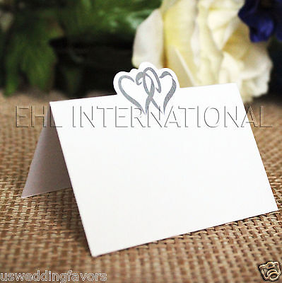 Party Place Cards (Wedding Party Table Place Cards Invitation Name Heart Decoration White)