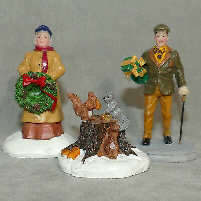 Christmas Figurine LEMAX Man Woman Vintage Clothes Squirrels on Tree Stump Nuts
