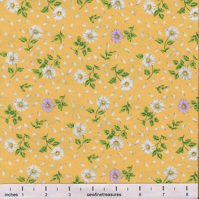 - Flower of the Month April DAISY on YELLOW Northcott Fabric By the FQ - 1/4 YD