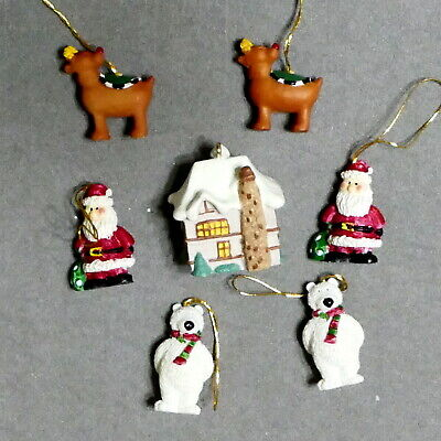 Christmas Ornament FEATHER TREE Resin HALLMARK Dime Size Lot of 9 USA SELLER