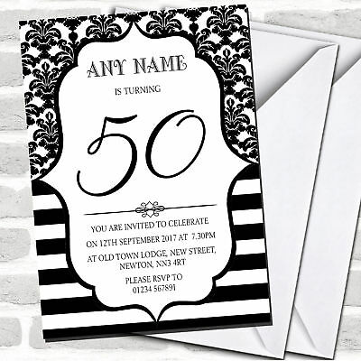 Vintage Damask Black & White 50th Birthday Party Invitations (50th Birthday Party Invitations)