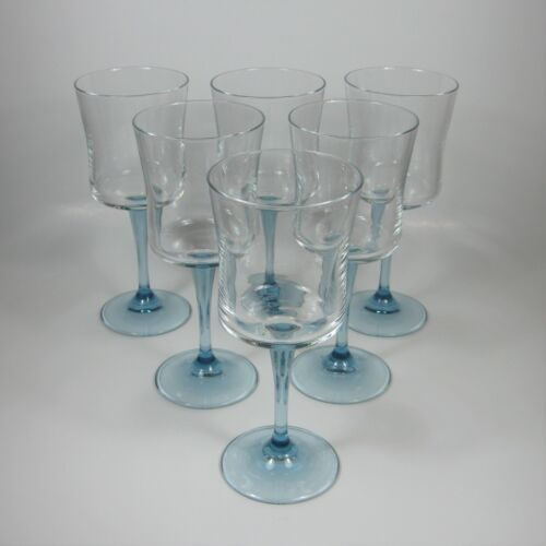 Set of 6 Wine Glasses with Clear Square Bowl Blue Stem & Foot Glass