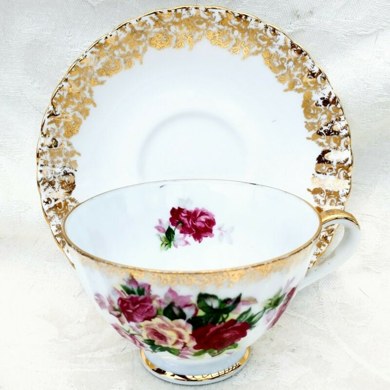 Vintage Hand Painted Red Pink & Gold Roses Footed Tea Cup & Saucer Set