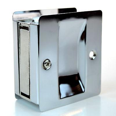 "Passage Sliding Pocket Door Lock 2.75"" x 2.5"" Polished Chrome, Taymor 25-PH590CH"