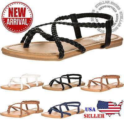 NEW Womens Braided Strappy Gladiator Flat Sandal Y-Strap Thing Flip Flop Sandals Braided Strappy Sandal