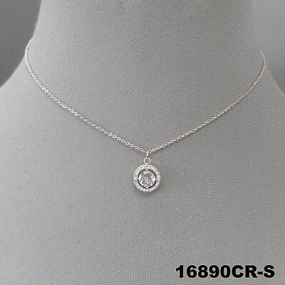 - Elegant Silver Finish Clear Cubic Zirconia Pendant Dainty Necklace 16890CR-S