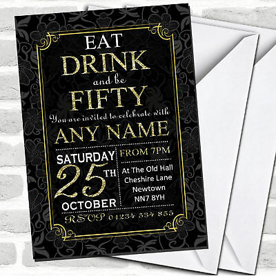 Black & Gold Flowers 50th Birthday Party Invitations (50th Birthday Party Invitations)