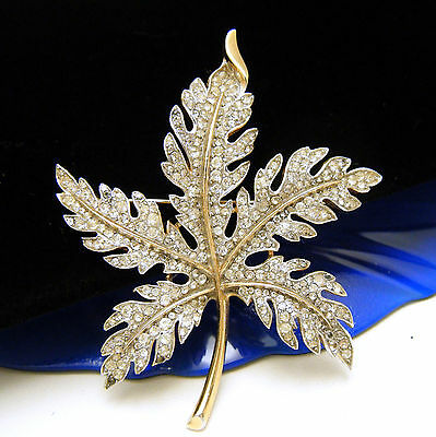 Beautiful Vintage Crown Trifari Rhinestone Maple Leaf Brooch Pave Set Gold Tone on Lookza
