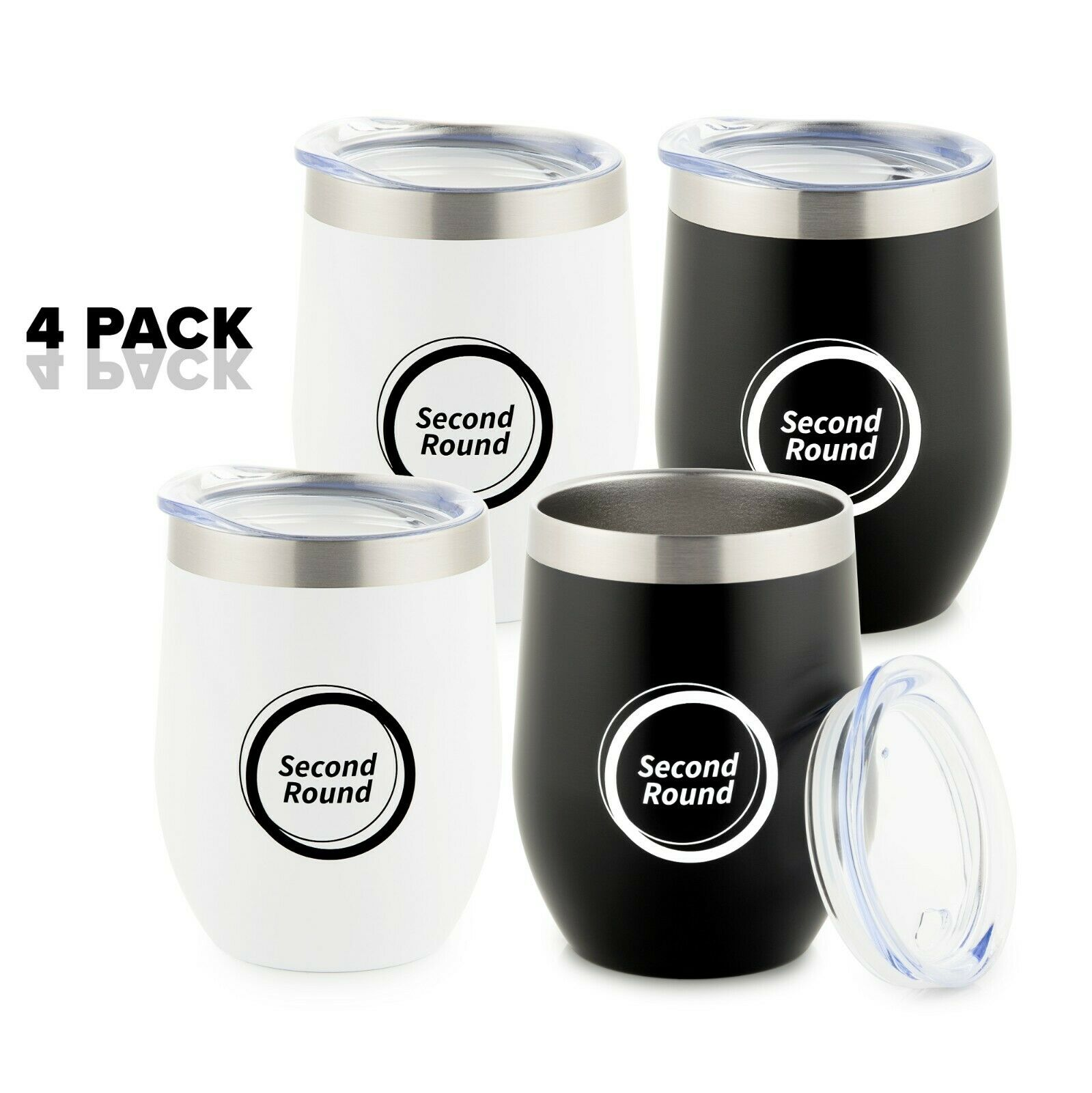 Wine Insulated Tumbler Set 12 OZ With Lid Stemless Tumblers