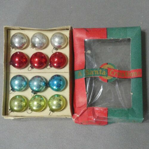 Christmas Ornament Glass MINI DIME SIZE Box Assorted Color Lot of 12 USA SELLER