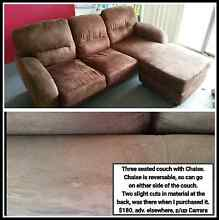 Brown three seater couch with Chaise Highland Park Gold Coast City Preview