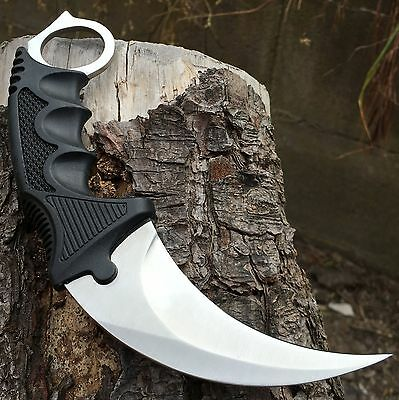 TACTICAL COMBAT KARAMBIT NECK KNIFE Survival Hunting BOWIE Fixed Blade w/ SHEATH