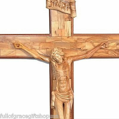 Huge Olive Wood Crucifix 6 Feet Very Large Carved Wooden Crucifix Holy Land