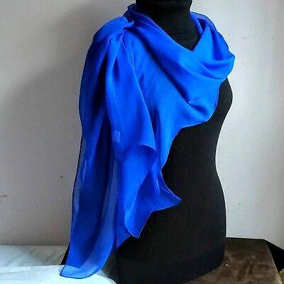 100% Silk Chiffon COBALT BLUE 12.5x60 LONG Sheer Scarf Wrap NEW Chiffon 100% Silk Sheer