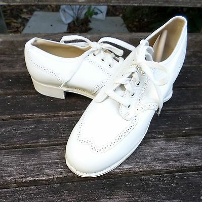 VINTAGE NURSE white leather Goodyear WWII shoes 8B DEADSTOCK NEW